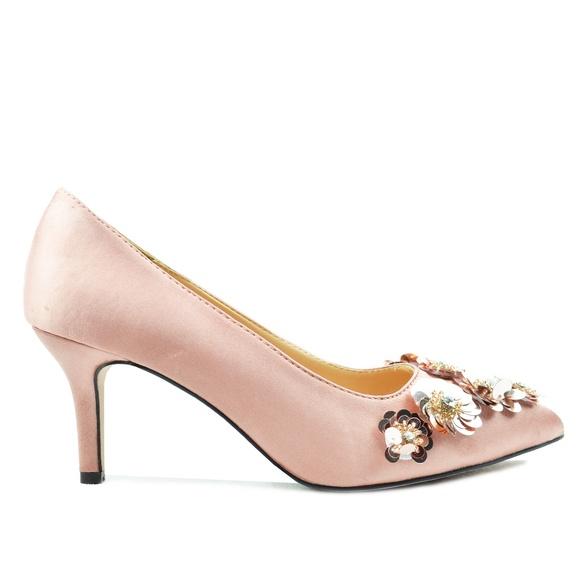 low heel sequin shoes